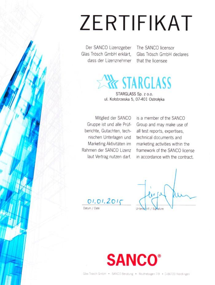 Certyfikat potwierdzający przynależność do Sanco.